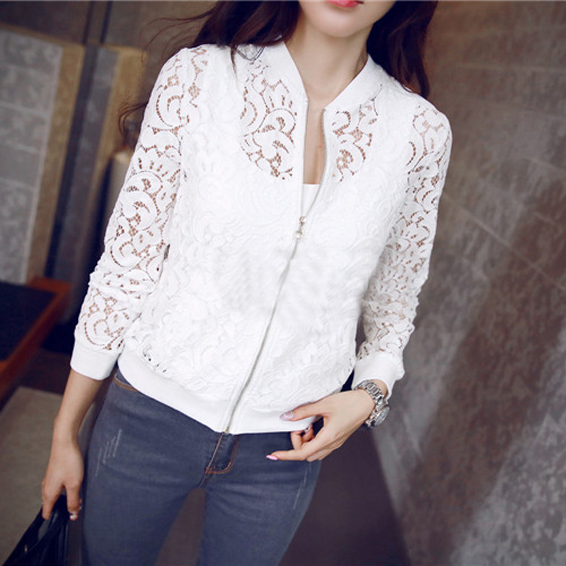 New Women's Elegant Coat Jacket Lace Splicing Slim Blazer Suits Zip up 2 Colors