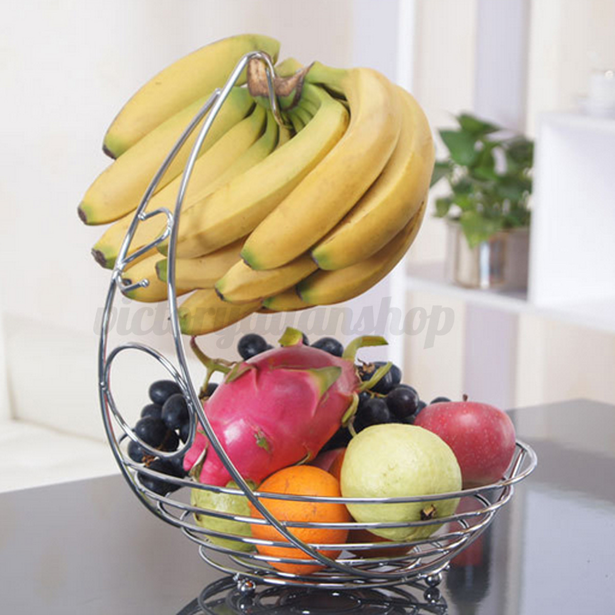 obstschale obst gem se korb fr chtekorb aufbewahrung mit bananenhalter haken ebay. Black Bedroom Furniture Sets. Home Design Ideas