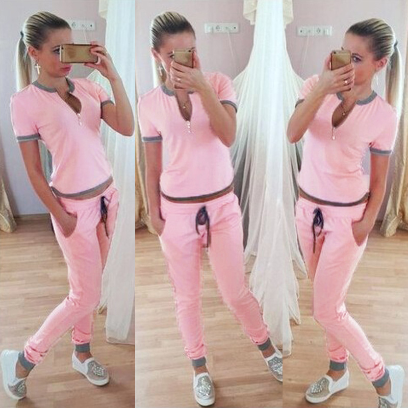 Zanzea Summer Women Lady Short Sleeve Casual Sport Sweat Suit Pants 2 pcs Set