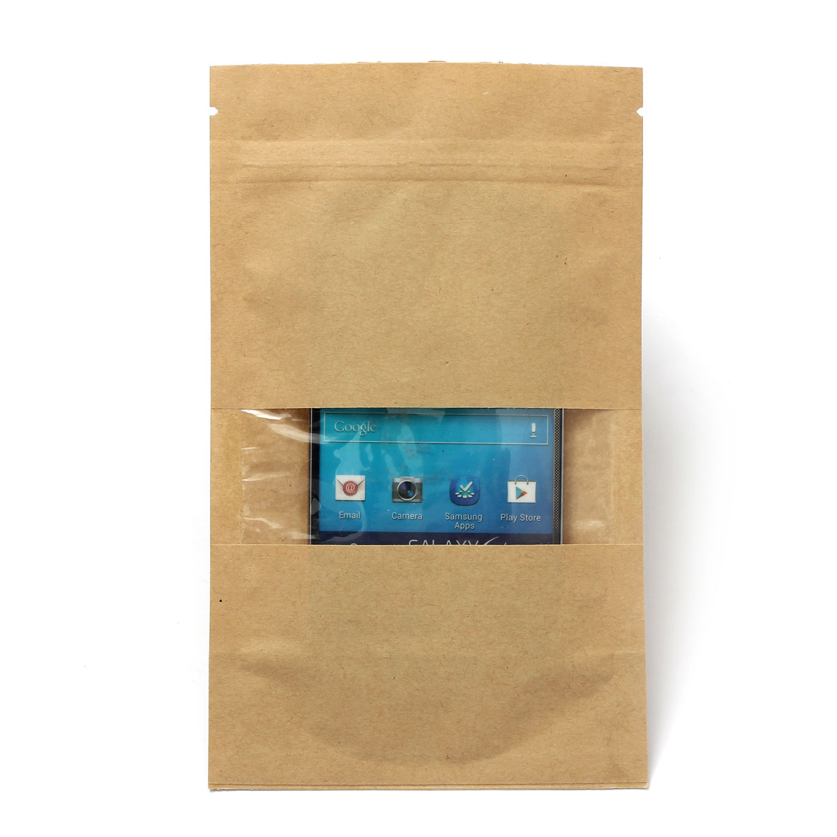 Leak Sealing Kraft Bag : Thickened stand up kraft paper window ziplock bag pouch