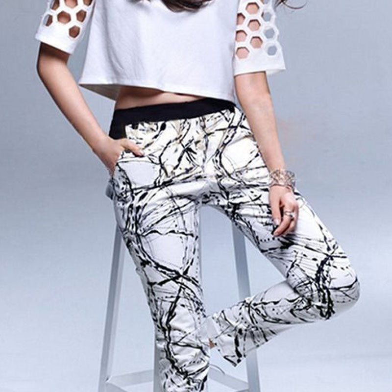 Fashion Women Casual Sport Printed Elastic Waist Slim Fit Long Pants Trousers