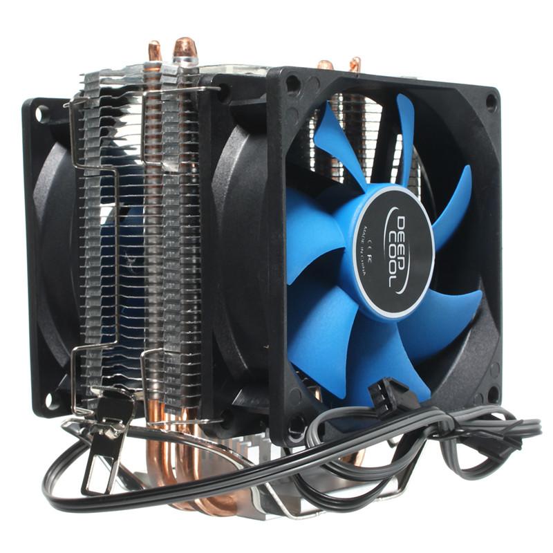 Dual Fan Cpu Cooler Heatsink Quiet For Intel Lga775 1156