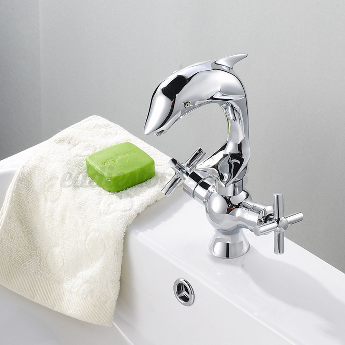 Dolphin Shape Double Handle Basin Sink Mixer Tap Bathroom