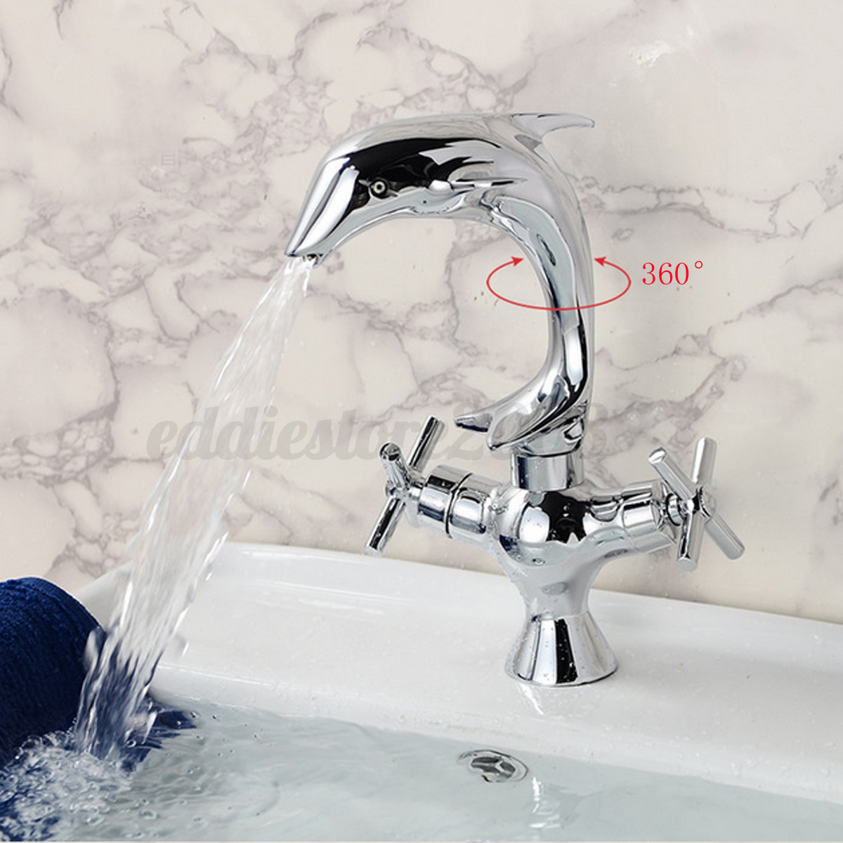 7 Faucet Finishes For Fabulous Bathrooms: Dolphin Shape Double Handle Basin Sink Mixer Tap Bathroom