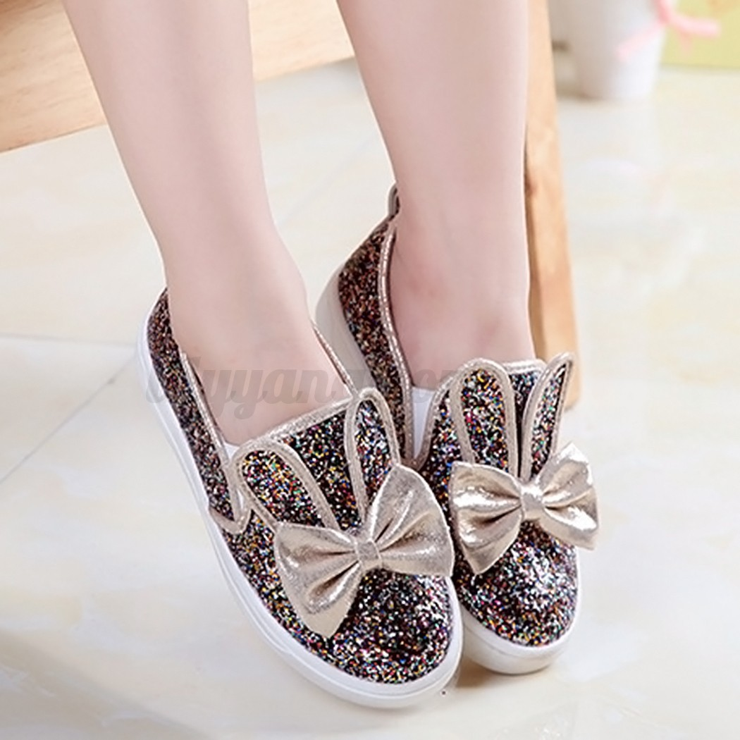 New Baby Kids Shoes Girl Casual Bowknot Loafers Bling Dance Shoes Round Toe Shoe