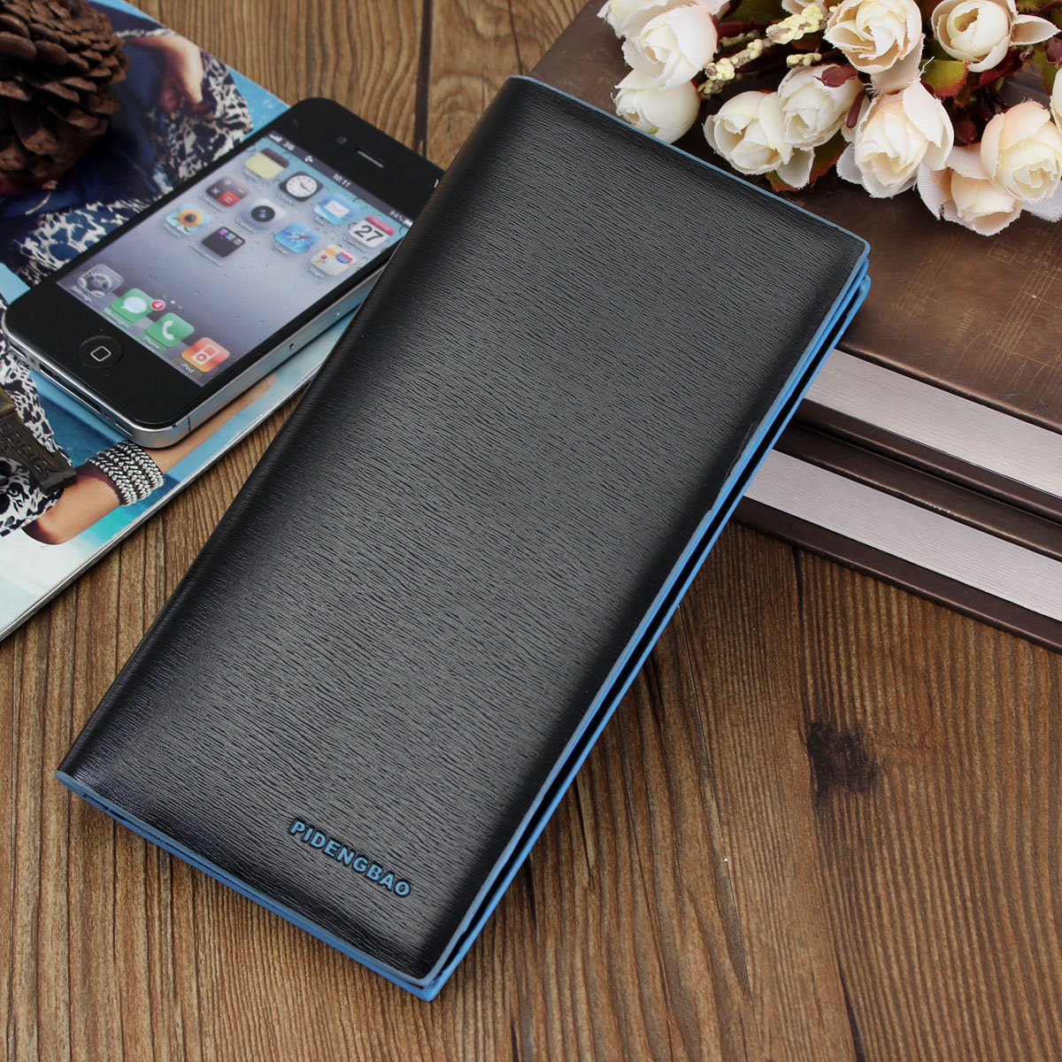 men business long leather wallet bifold clutch purse credit card