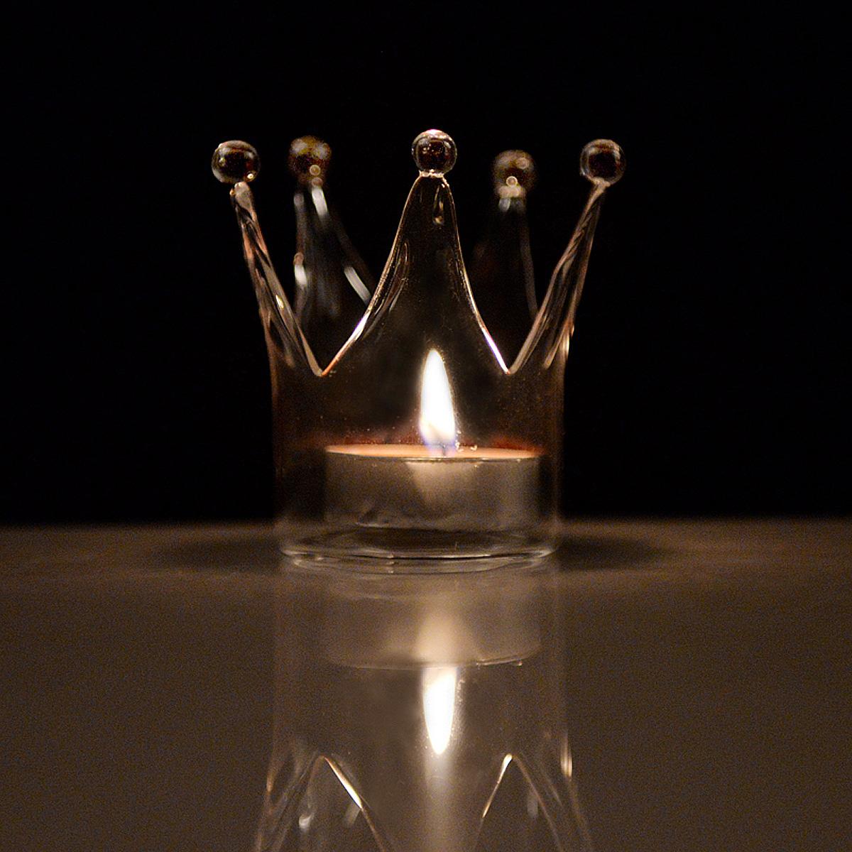 transparent crown shape glass candle holder bowls wedding