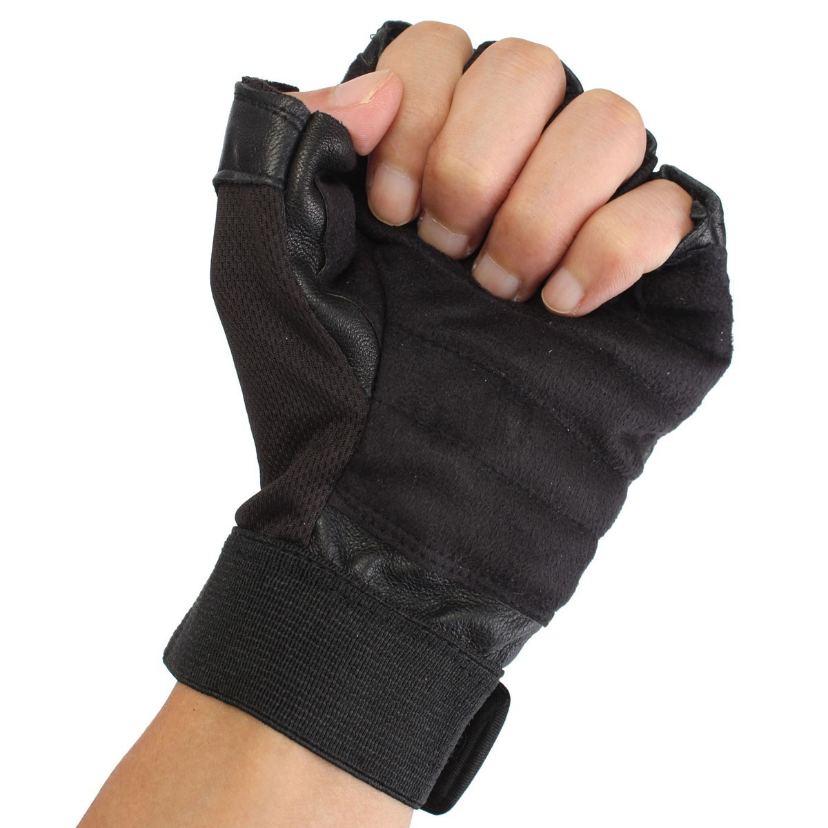 Gym Gloves Weight Lifting Leather Workout Wrist Support: Tactical Men's Leather Weight Lifting Gloves Training Gym