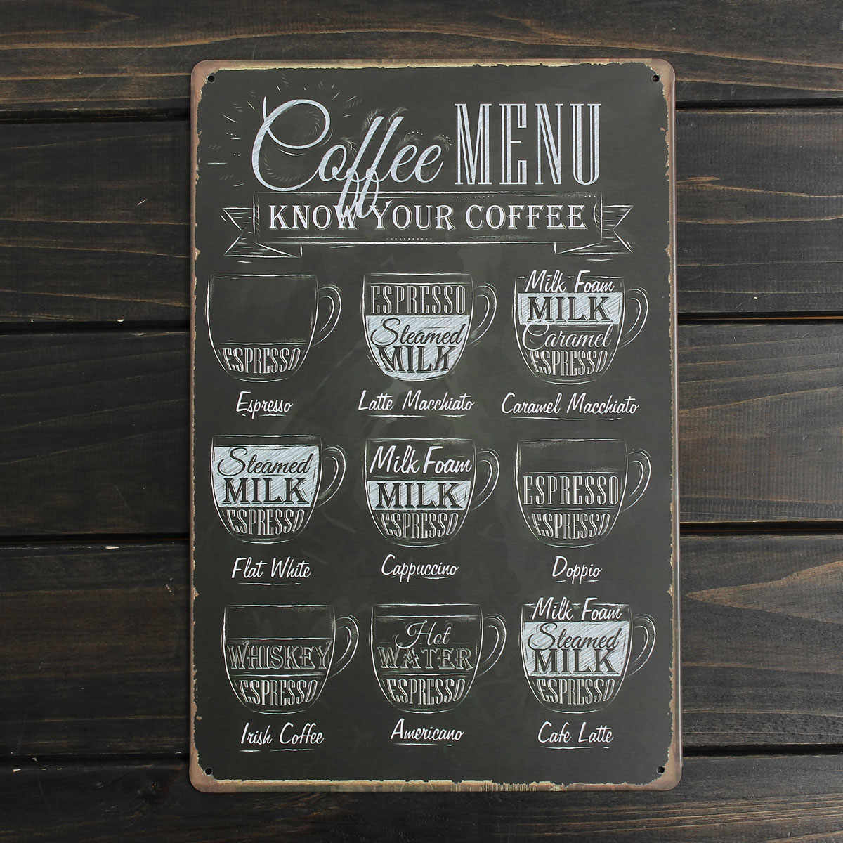 vintage coffee menu metal sign tin plaque poster bar pub wall club home decor. Black Bedroom Furniture Sets. Home Design Ideas