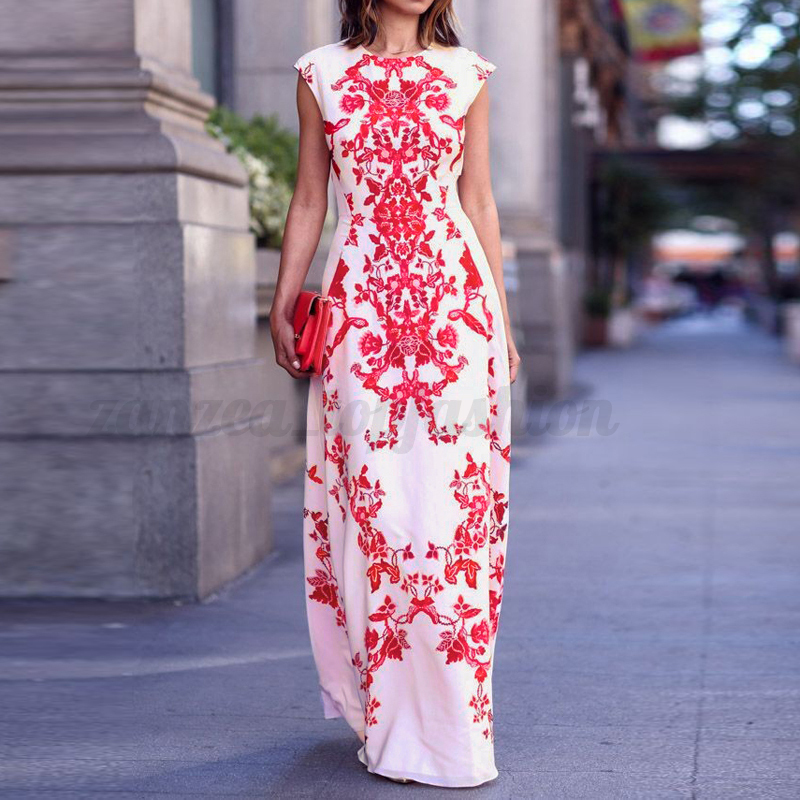 UK Vintage Chinese Floral Sexy Womens Summer Boho Long Maxi Evening Party Dress