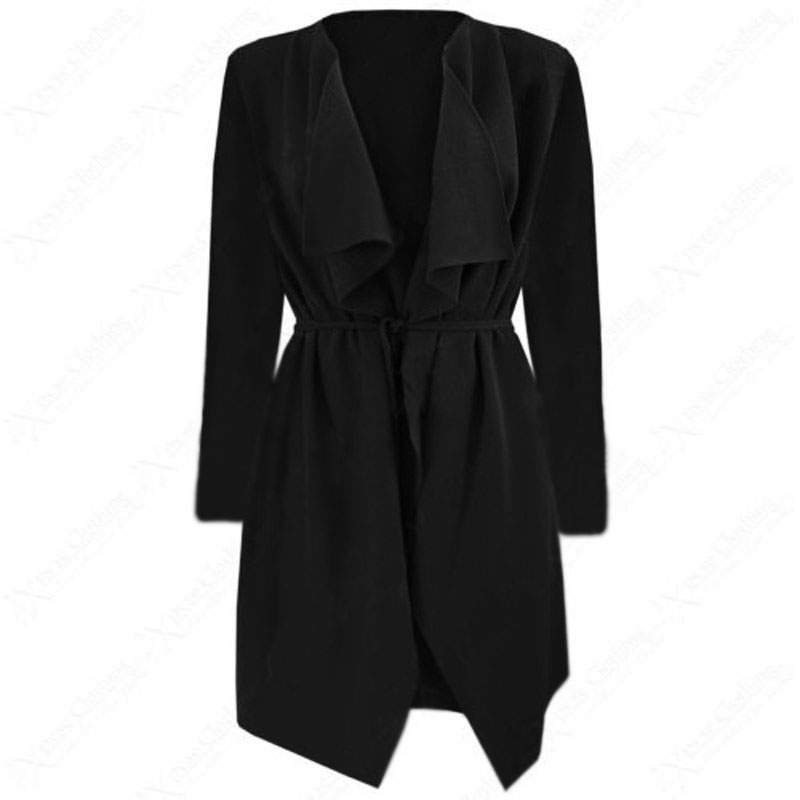 Ladies Half Sleeve Waterfall Jacket Belt Large Lapel Fashion Coat Cardigan Tops