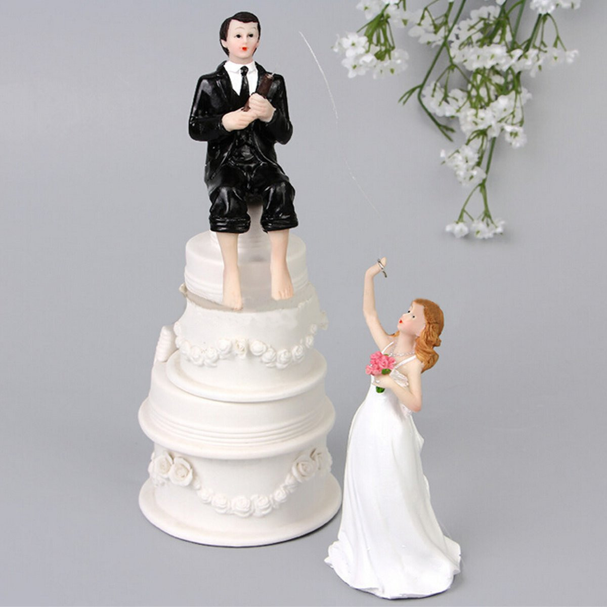 Romantic Wedding Cake Toppers Figure Bride and Groom Couple Bridal ...