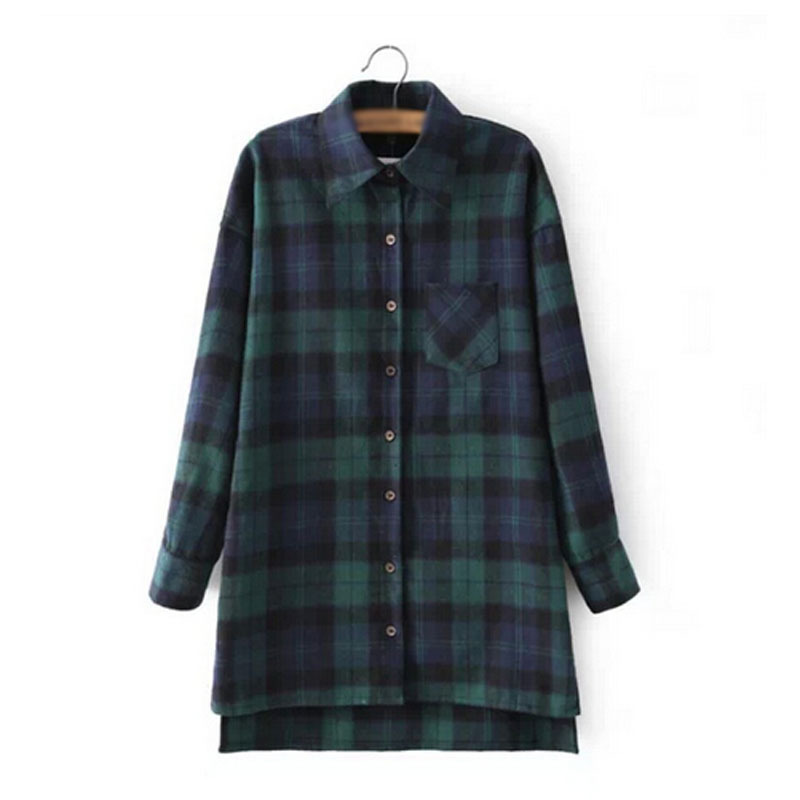 Zanzea women red green plaid check button oversized shirt for Womens green checked shirt