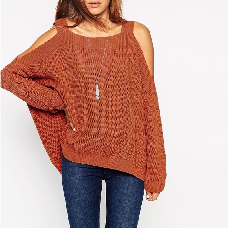 Off Shoulder Ladies Long Sleeve  Loose Sweater Knitwear Jumper Tops 4 Colors