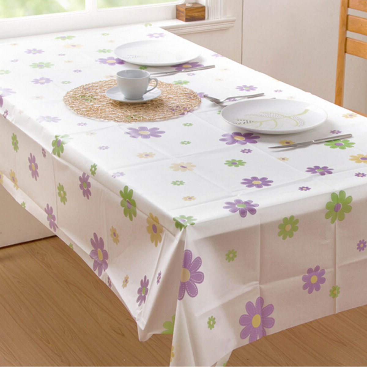 wipe clean pvc vinyl tablecloth dining kitchen table cover protector