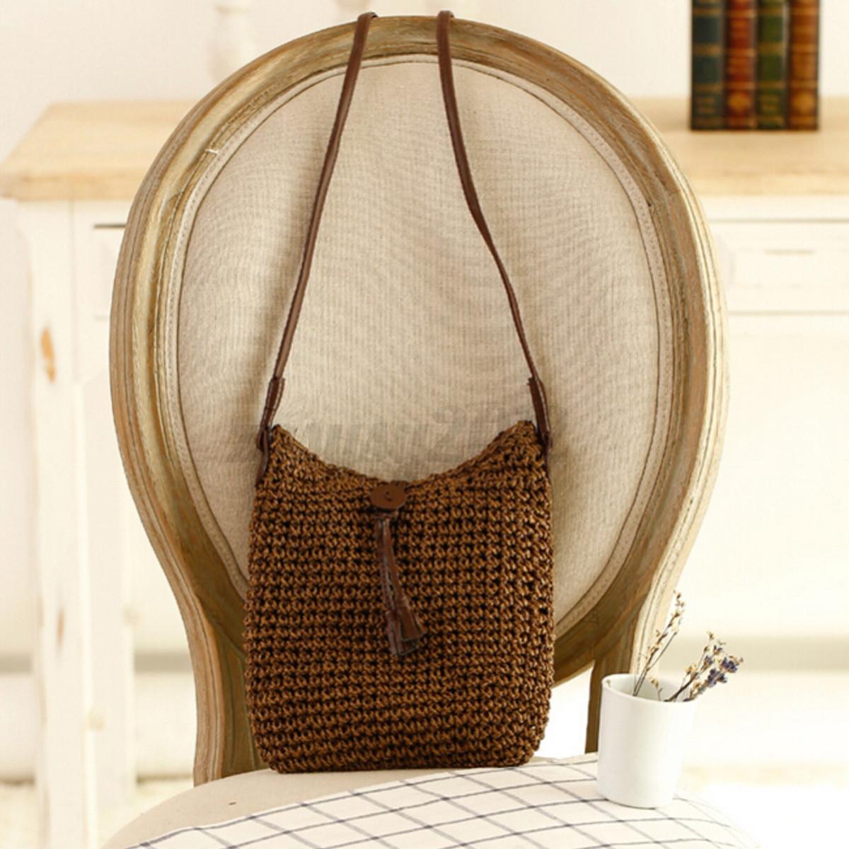 sac main epaule plage boh me pochette cabas paille bandouli re messenger femme ebay. Black Bedroom Furniture Sets. Home Design Ideas