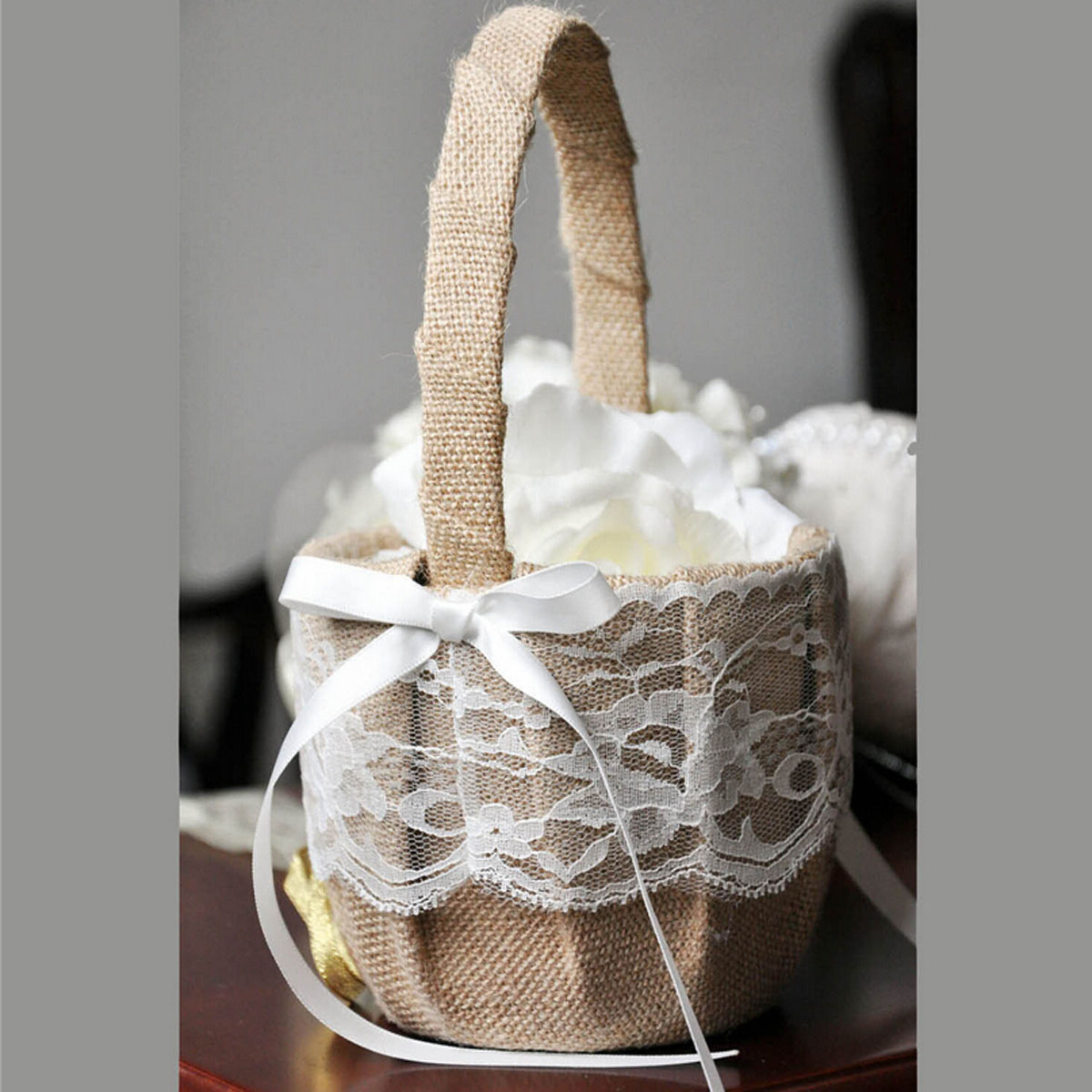 Rustic Burlap Flower Girl Baskets : Vintage rustic wedding ceremony hessian burlap and lace
