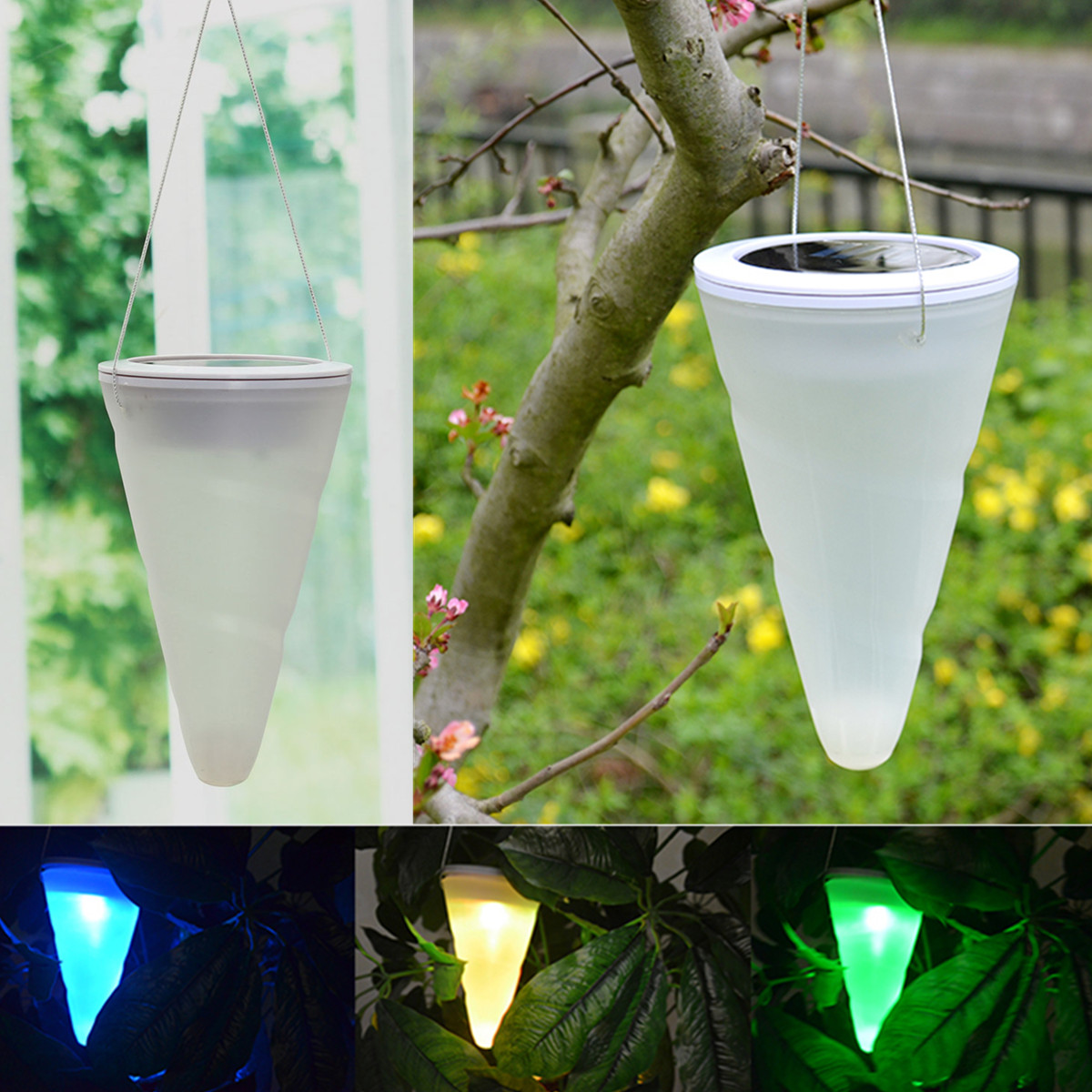 Solar Power Garden Lights Outdoor Cornet Cone LED Lamp Hanging Tree Lantern D