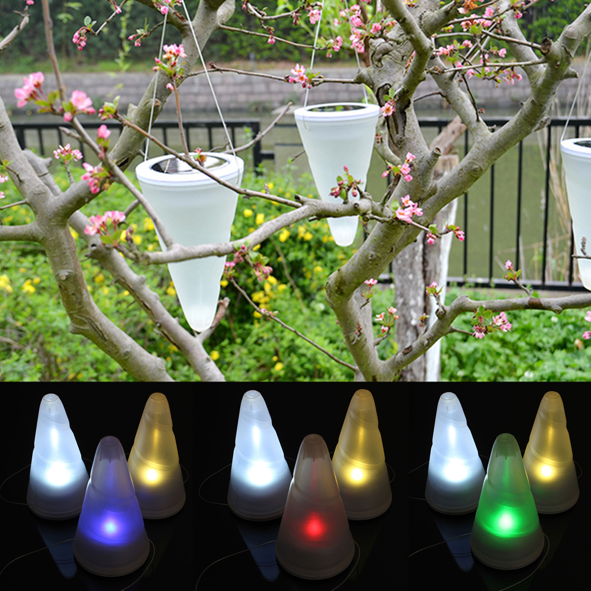 Solar Patio Lights Hanging: Solar Power Garden Lights Outdoor Cornet Cone LED Lamp
