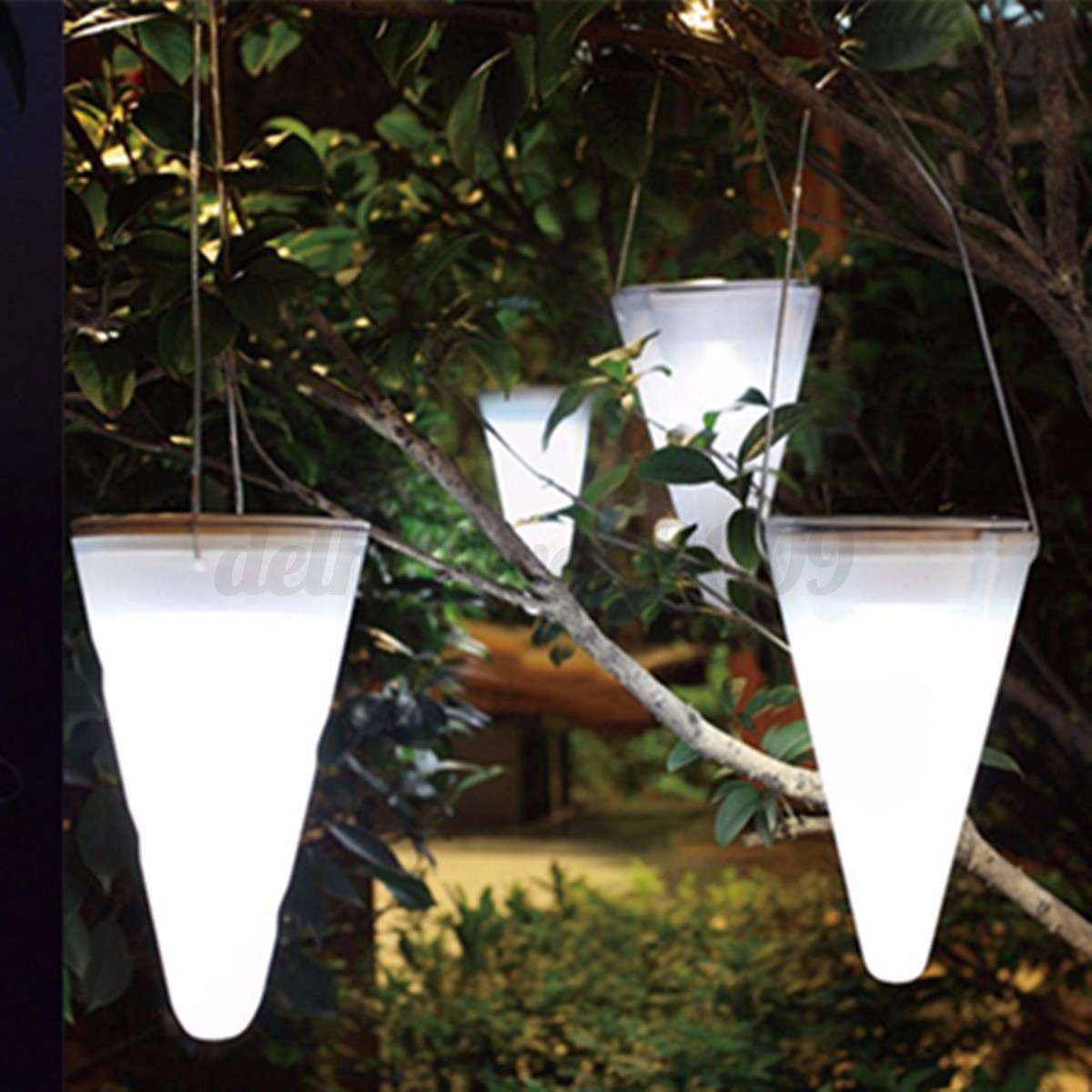 3 Color Solar Outdoor Garden Night Lights Cornet Cone LED Lamp Hanging Tree X