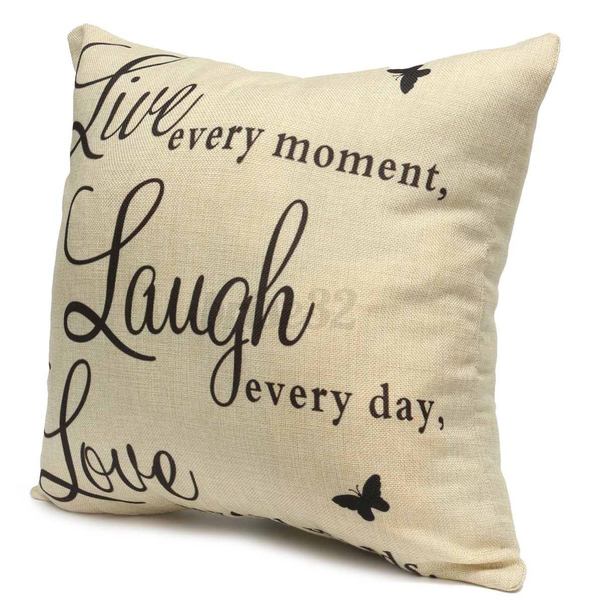 Throw Pillow Covers With Sayings : Live Laugh Love Quotes Cushion Cover Home Decor Cotton Linen Throw Pillow Case eBay