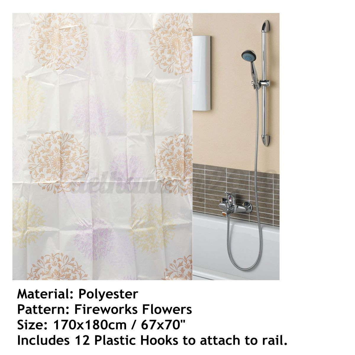 Unique Clear Thick Peva Bathroom Shower Curtain 3d Water Cube Waterproof 12 Hook Ebay