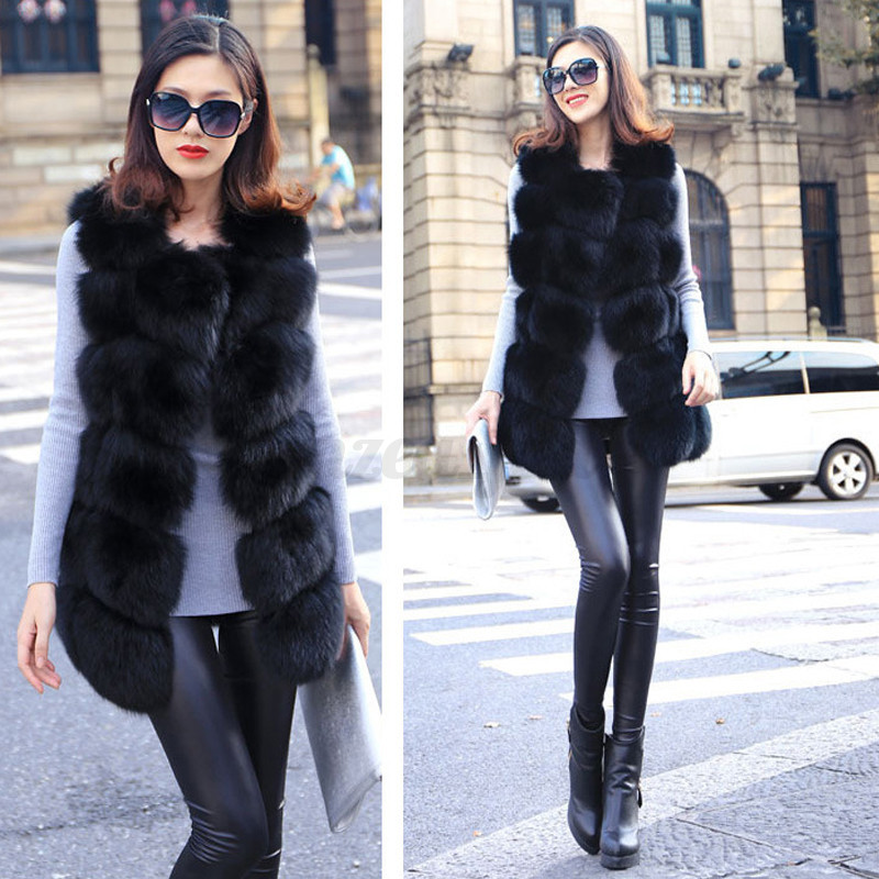 damen sexy elegant slim fox fur weste vest cardigan. Black Bedroom Furniture Sets. Home Design Ideas