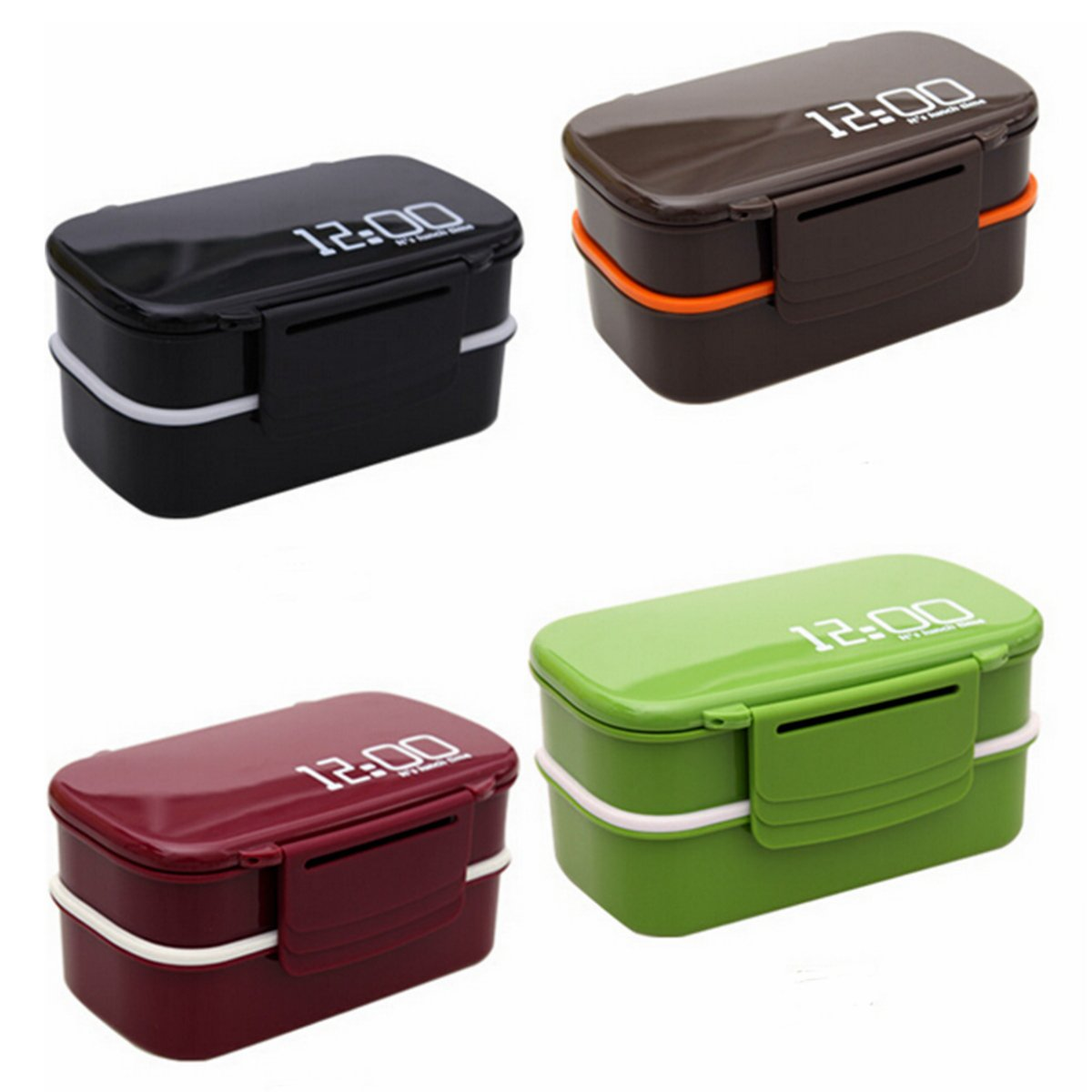 microwave plastic bento lunch box picnic food container large storage spoon fork. Black Bedroom Furniture Sets. Home Design Ideas