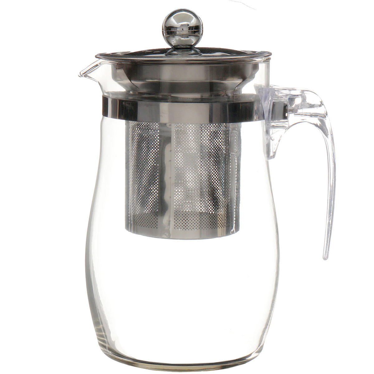 750mL Heat Resistant Clear Glass Teapot Stainless Steel Infuser Flower Tea Po