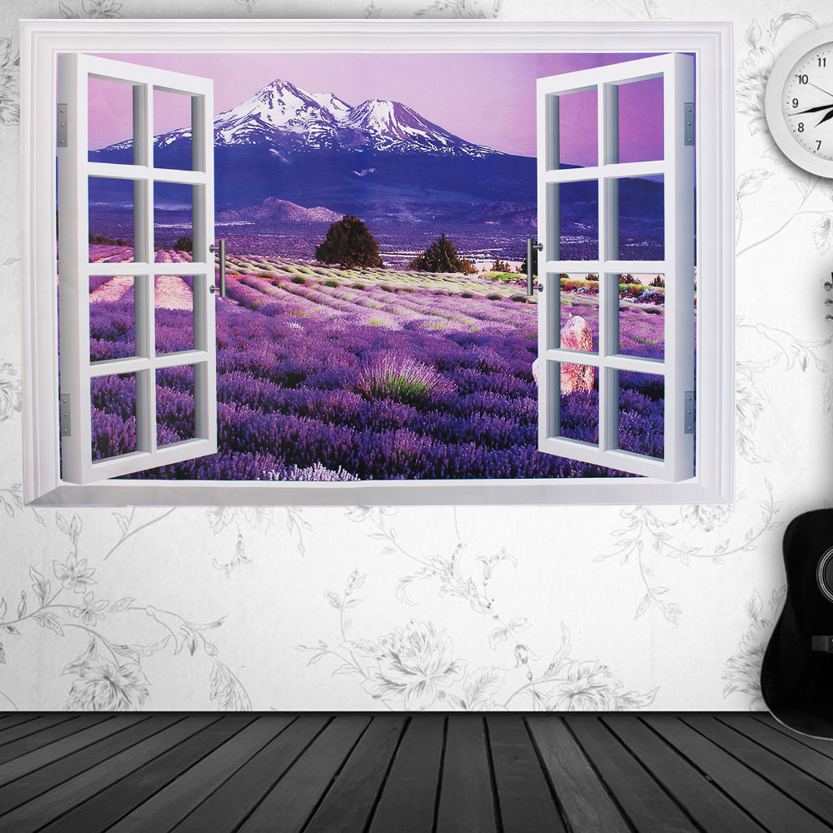 3d lavanda spiaggia vinyl carta da parati wall stickers for Carta da parati 3d