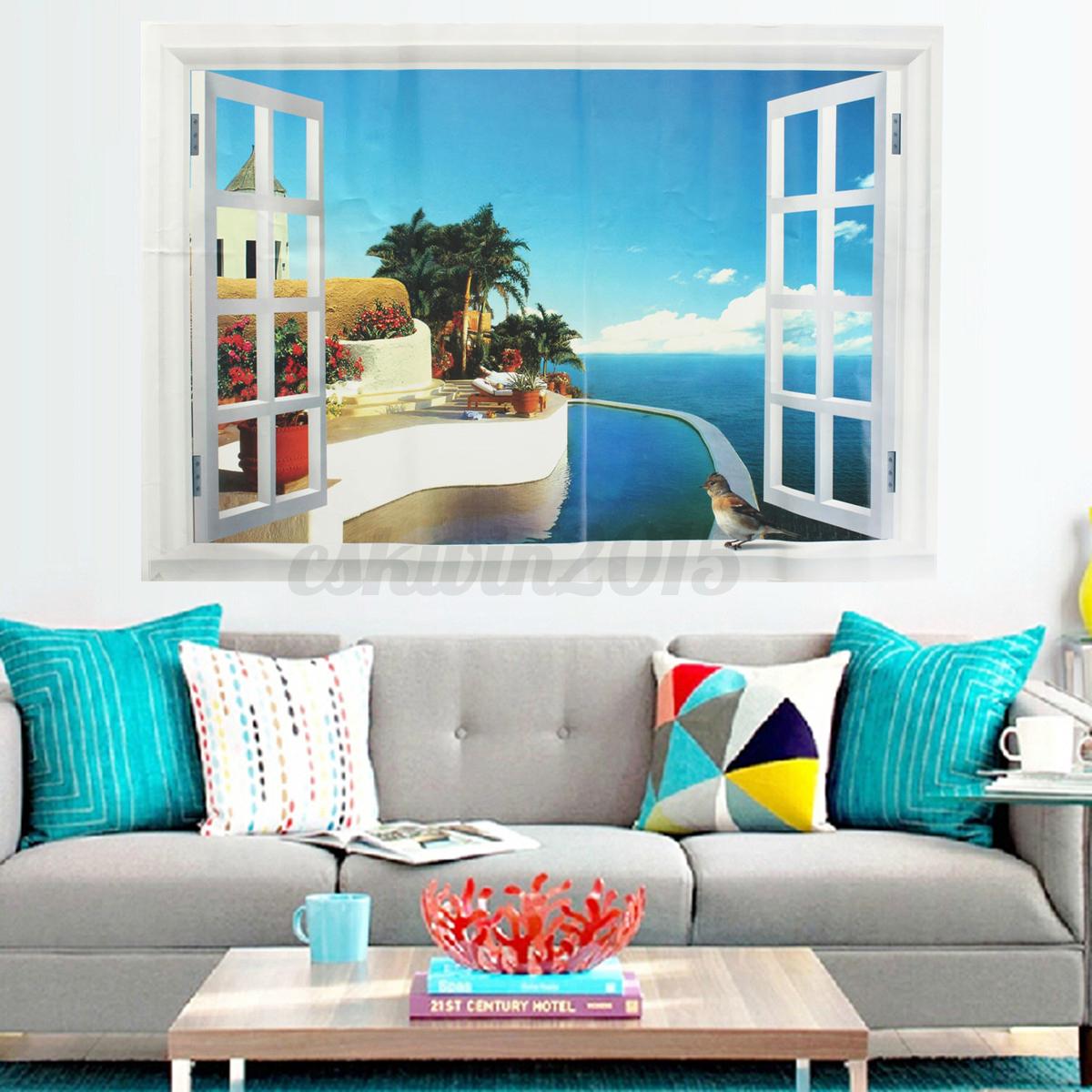 3d ocean beach window wall sticker decals room decor vinyl for 3d room decor