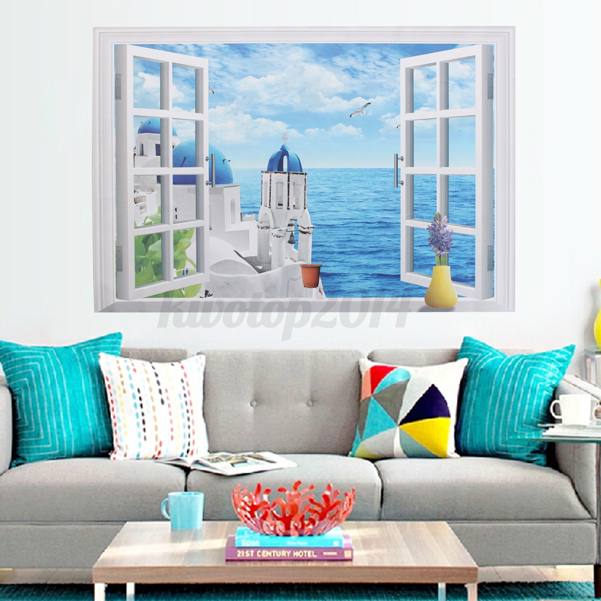 Removable 3d window ocean beach wall sticker art decals for Beach window mural