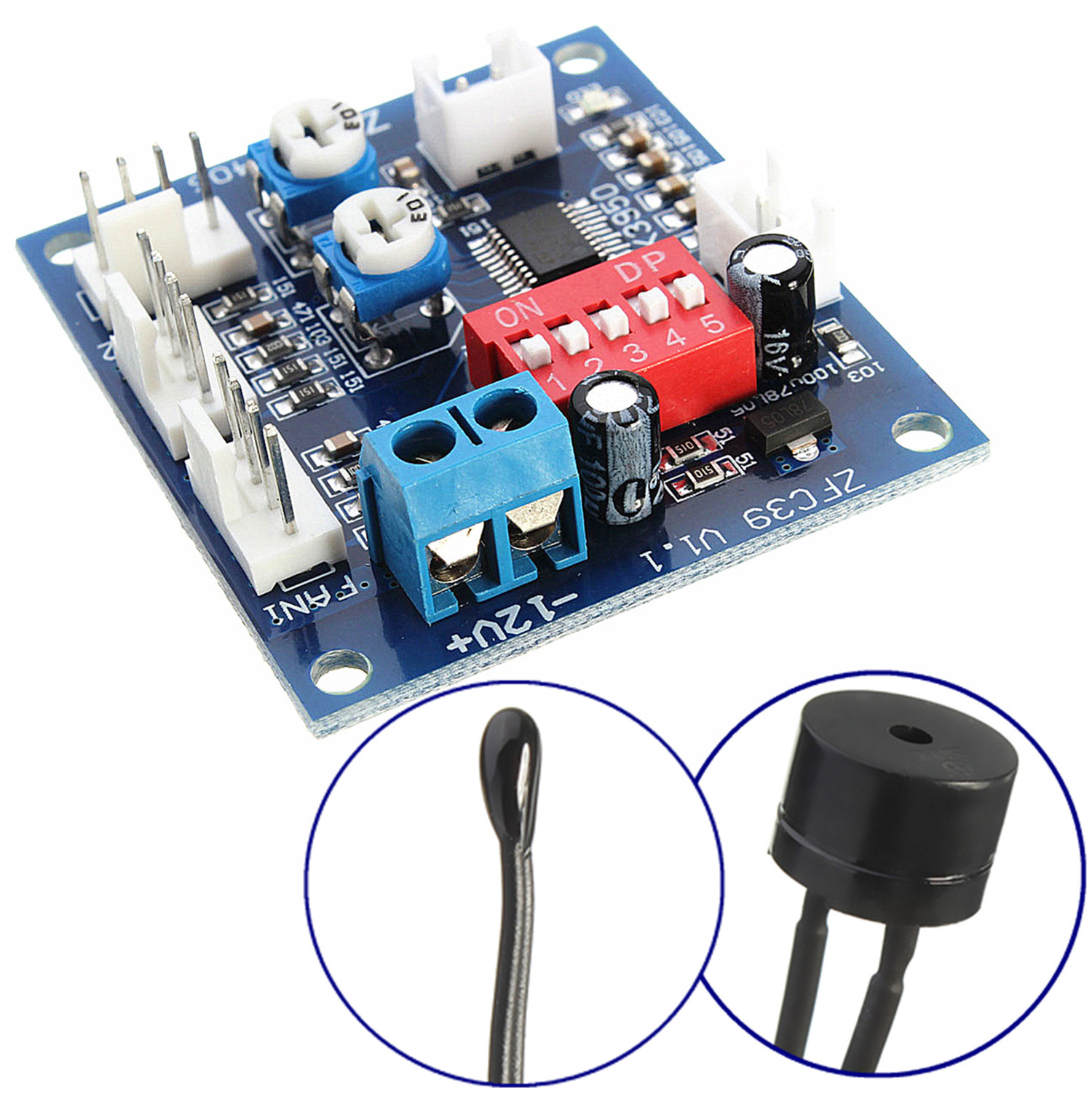 DC 12V Fan Temperature Control Speed Controller CPU High Temp Alarm  #B21919
