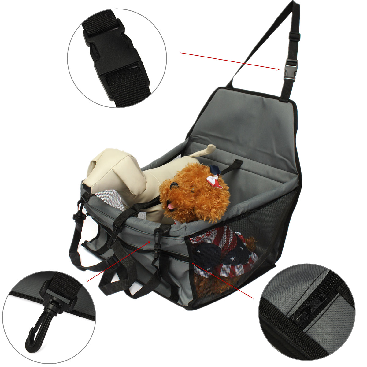 folding pet dog cat puppy car seat safety belt cover booster travel carrier bag ebay. Black Bedroom Furniture Sets. Home Design Ideas