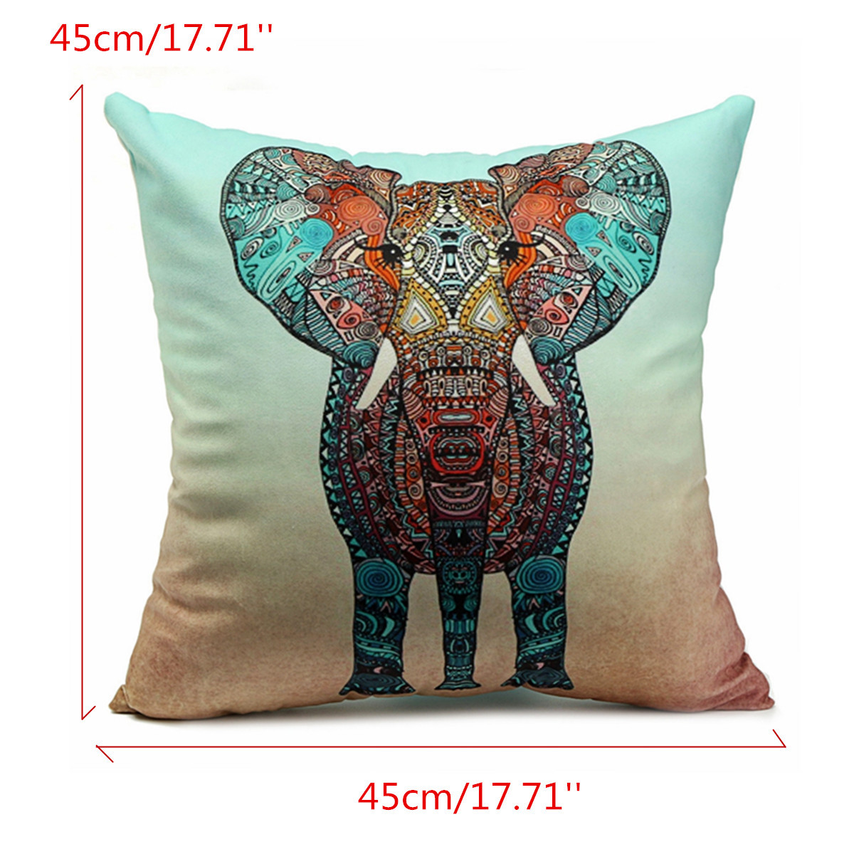 Colorful Pillows For Sofa: Velvet Colorful Elephant Throw Pillow Case Cushion Cover