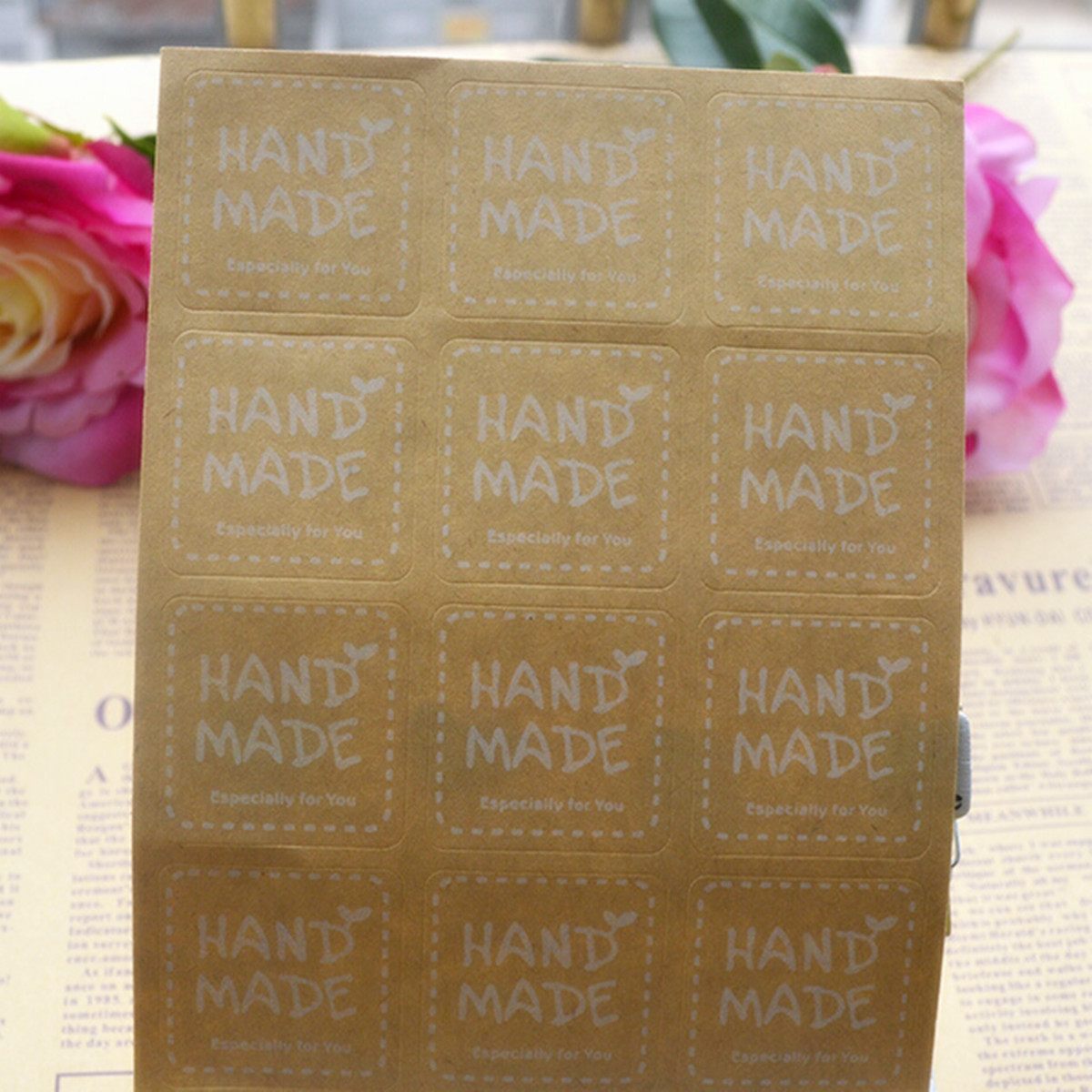 "120X Craft "" Hand Made "" Seal Sticker Label F. Cello Cupcake Party Gift Bags Box"