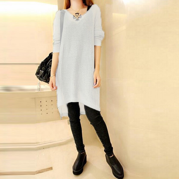 Women's Casual Oversized Sweater Tops Blouse Long Sleeve Jumper Mini Loose Dress