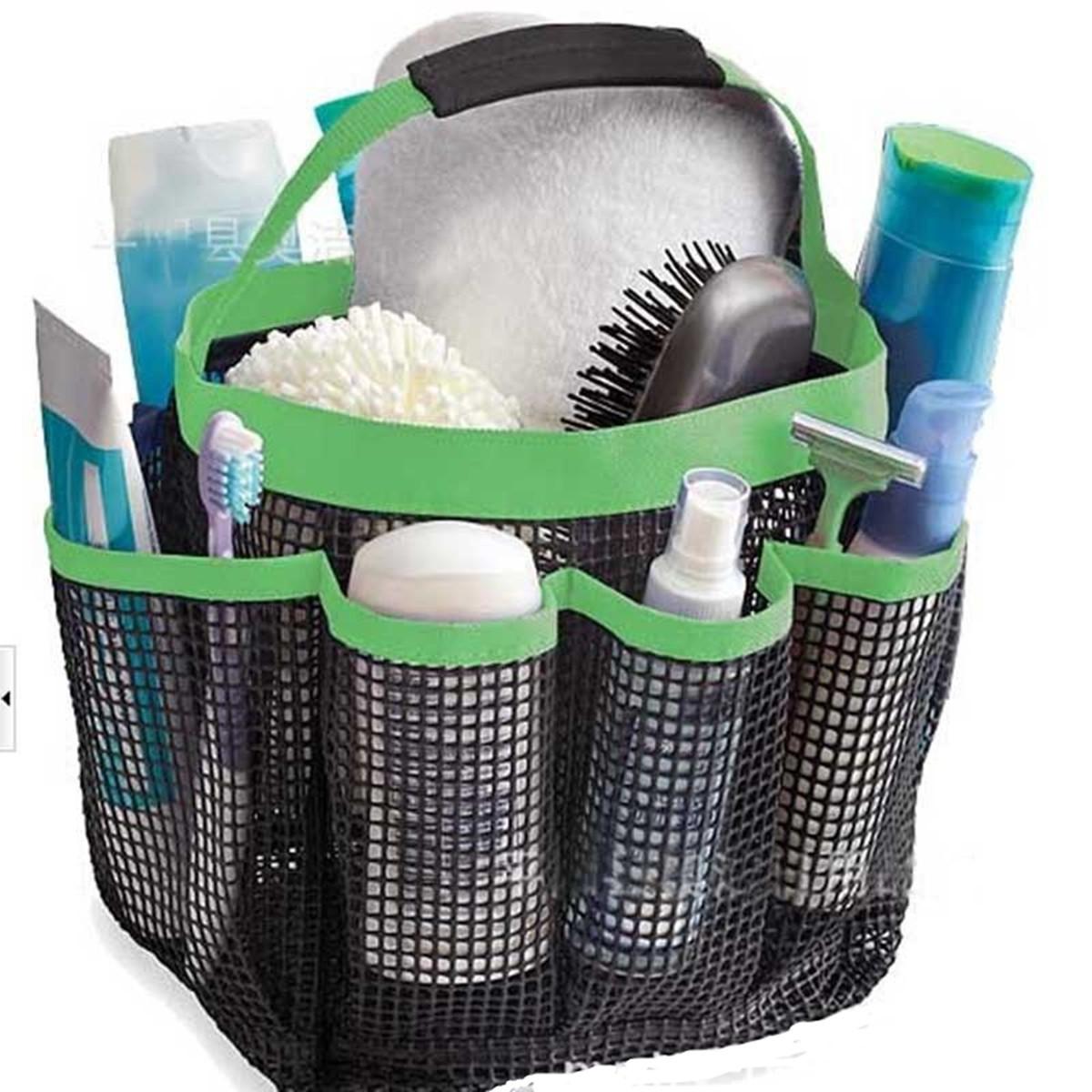 Portable Shower Bag : Shower bath caddy mesh pockets portable tote organizer