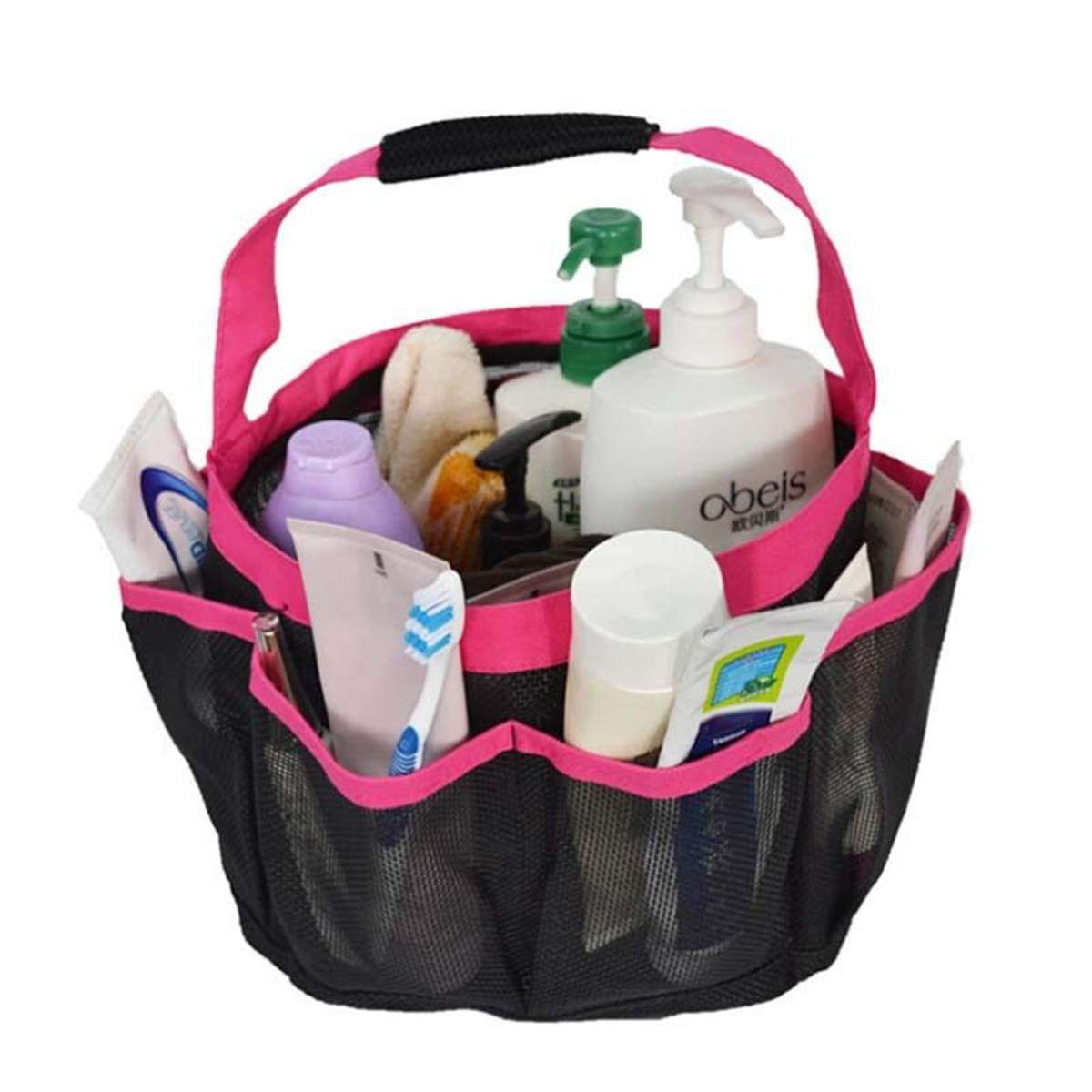 Dorm Bathroom Caddy: 8 Pockets Shower Caddy Mesh Portable Quick Dry Travel Tote