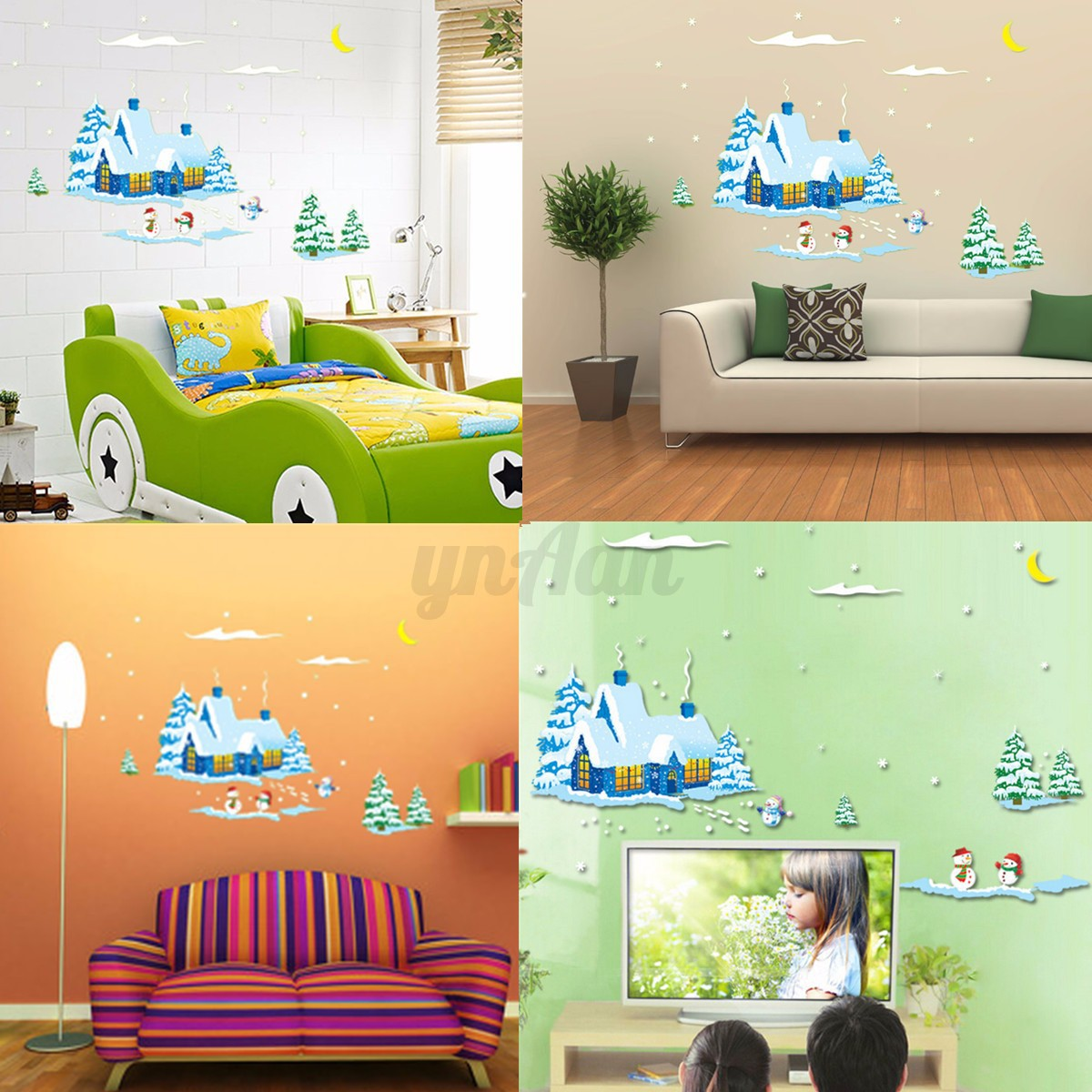 Neige sticker autocollant mural fen tre chambren maison for Autocollant decoratif maison