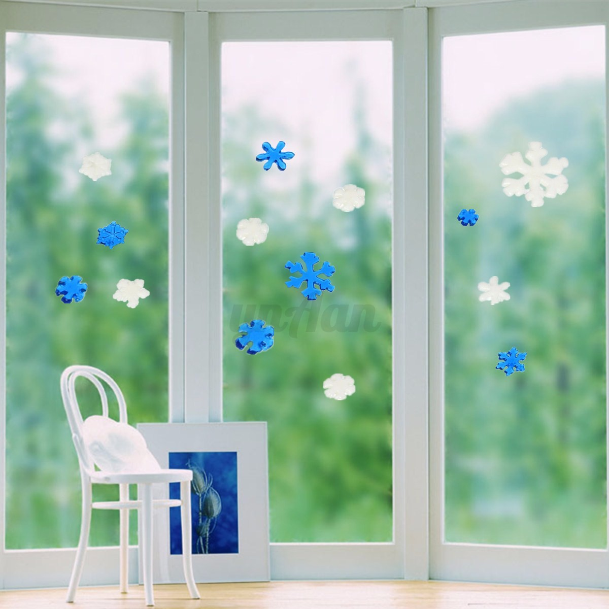 Santa snow frozen window decor wall sticker christmas gift for Christmas window mural