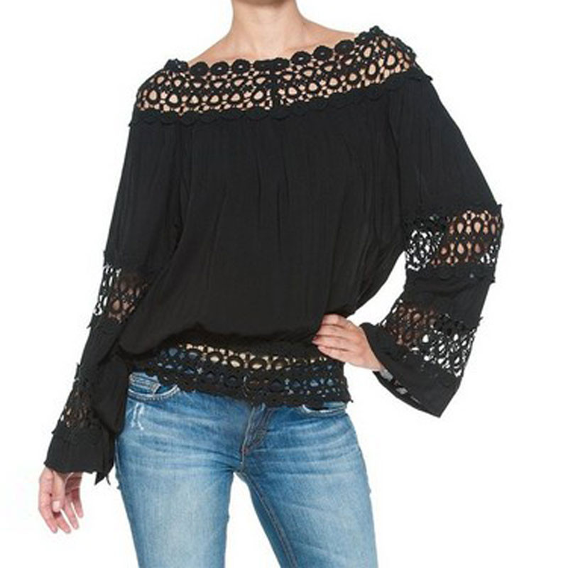 Sexy Women Off Shoulder Gypsy Hollow Out Loose Cocktail Party Tops Blouse Shirt