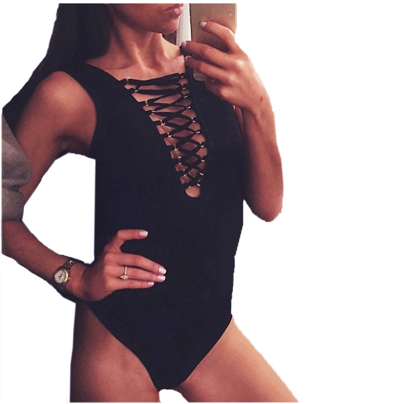 S-XL Sexy Women Lace-up Fashion Tie Front Bodysuit Top Leotard Bodycon Jumpsuit