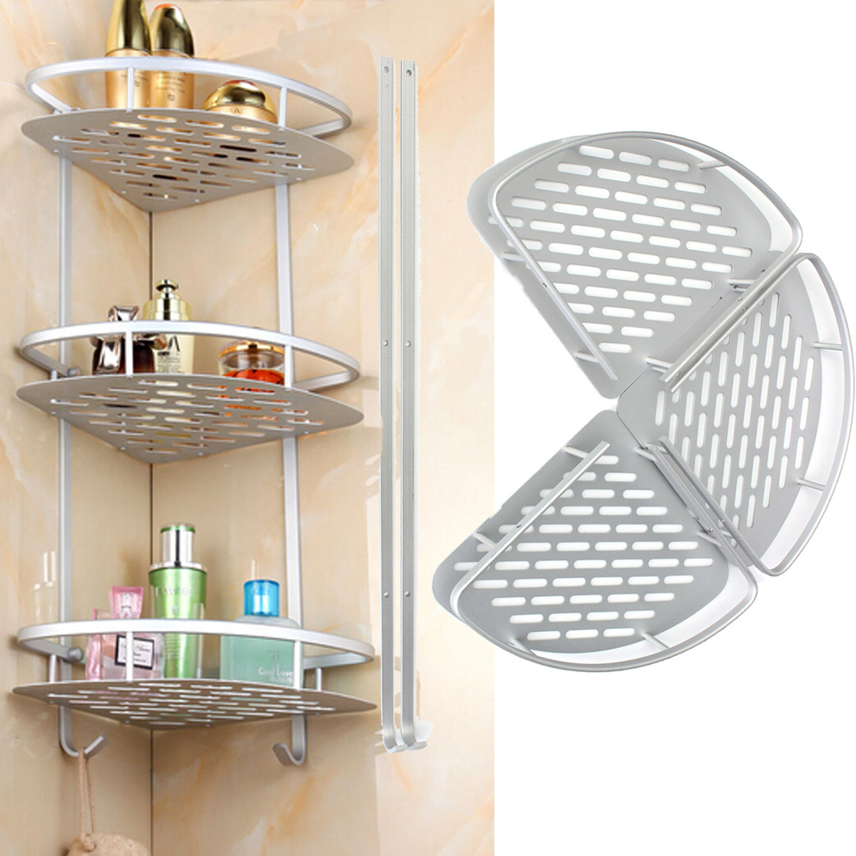 3 Layer Triangular Shower Caddy Shelf Bathroom Corner Rack Storage ...