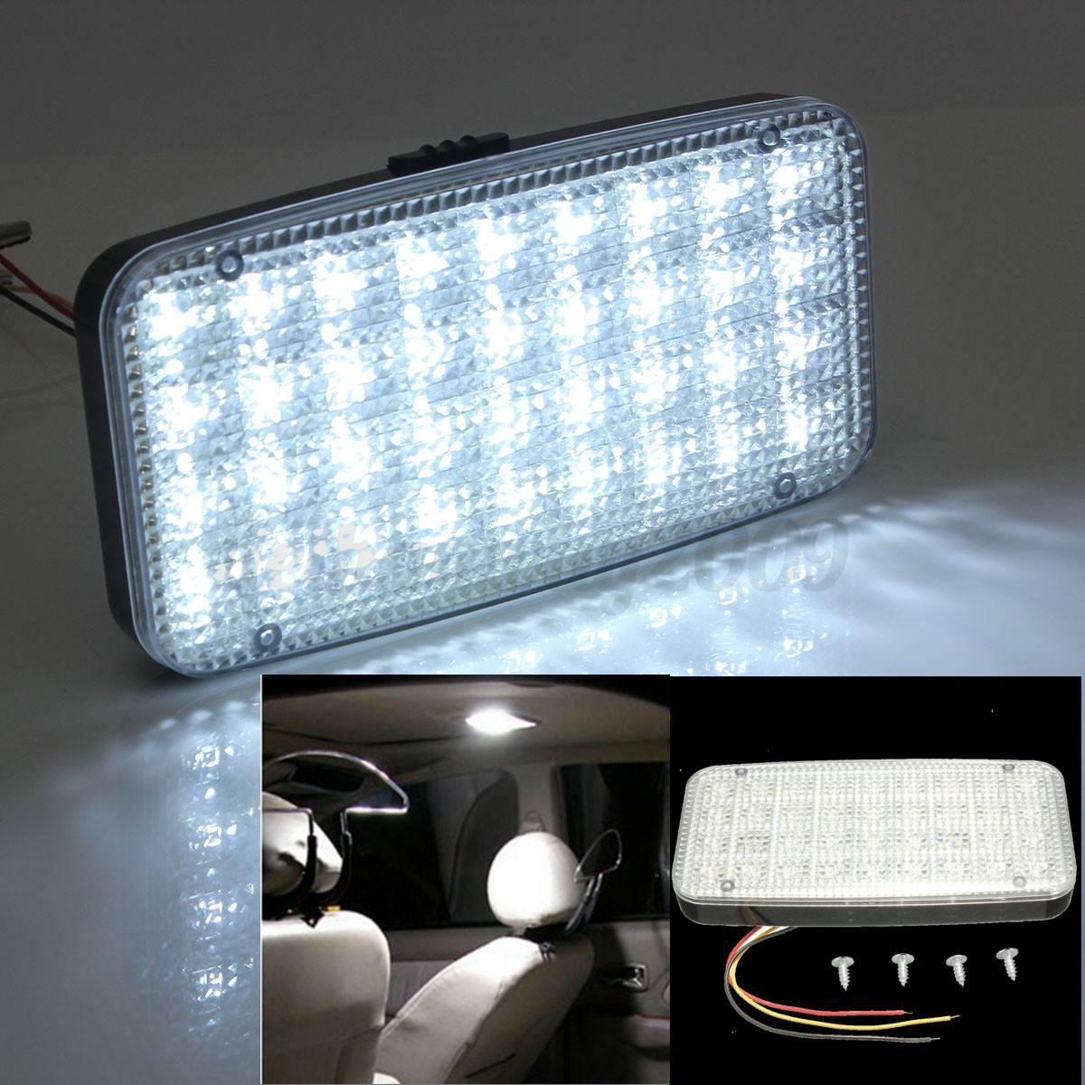 12v 36 white led ceiling dome roof interior light lamp for car auto van vehicle ebay. Black Bedroom Furniture Sets. Home Design Ideas