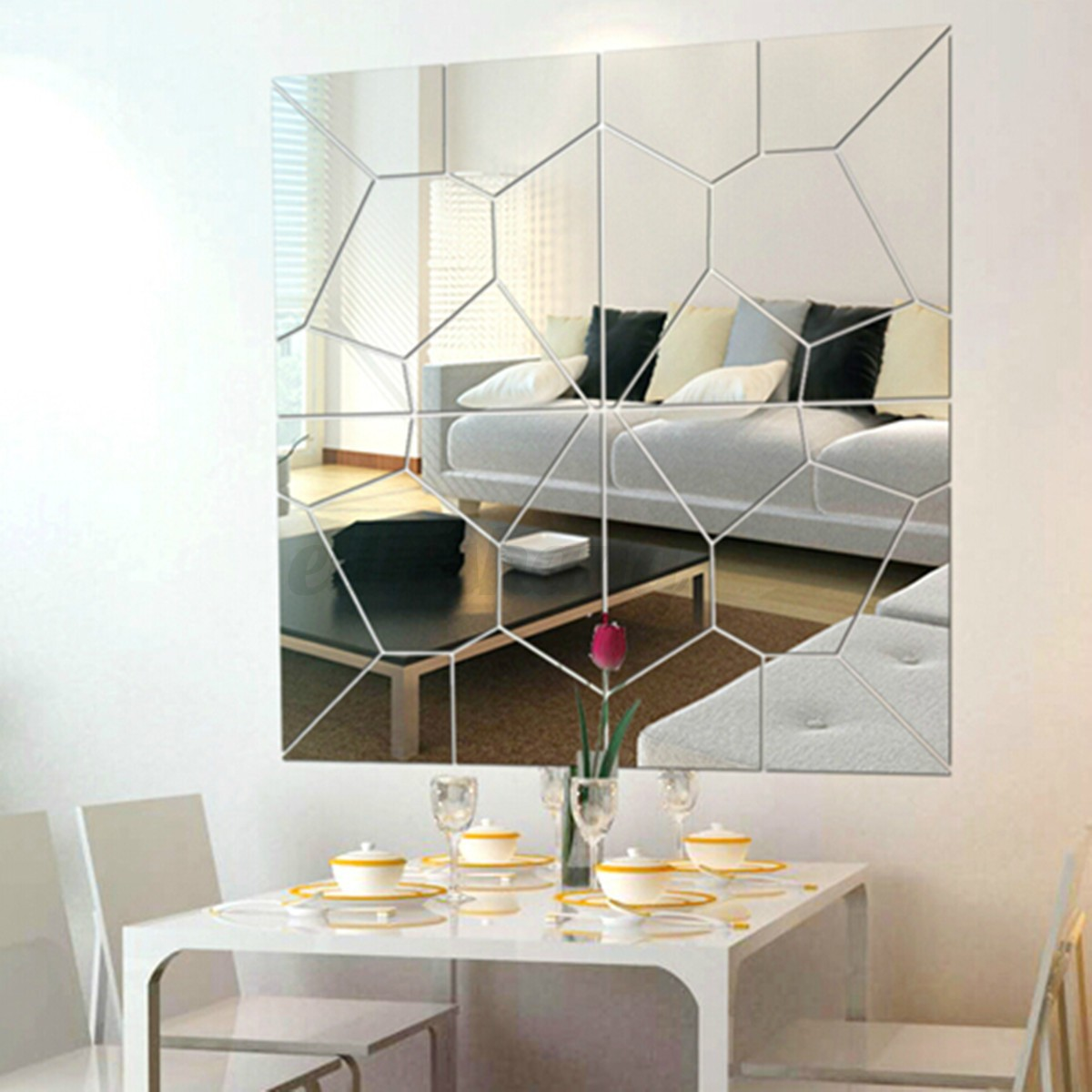 Modern 7pcs 3d mirror geometric hexagon acrylic wall for Mirror wall art