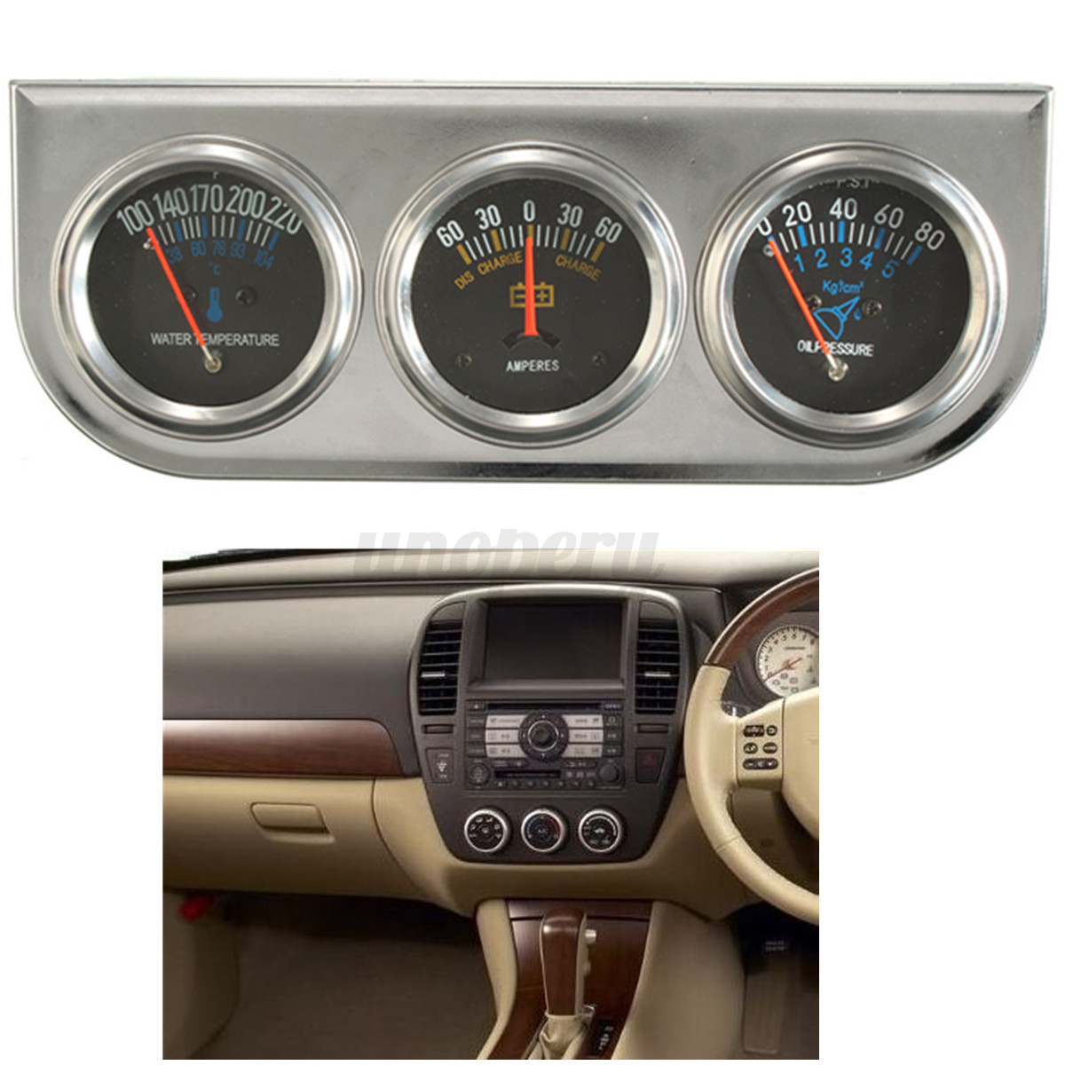 Automotive Gauge Sets : Mechanical auto meter trio ammeter water temp oil