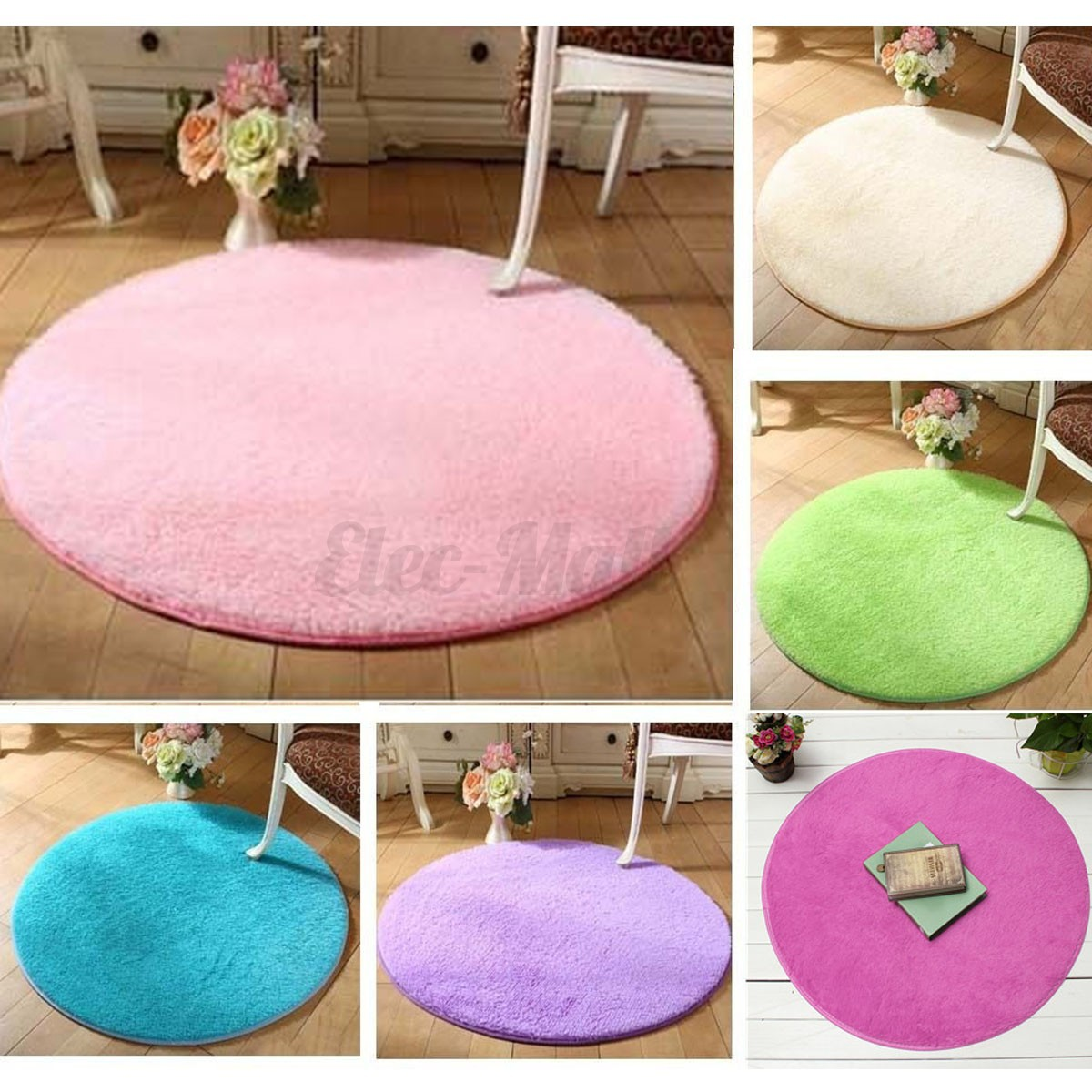 120cm round fluffy rug anti skid shaggy rug dining room bedroom carpet