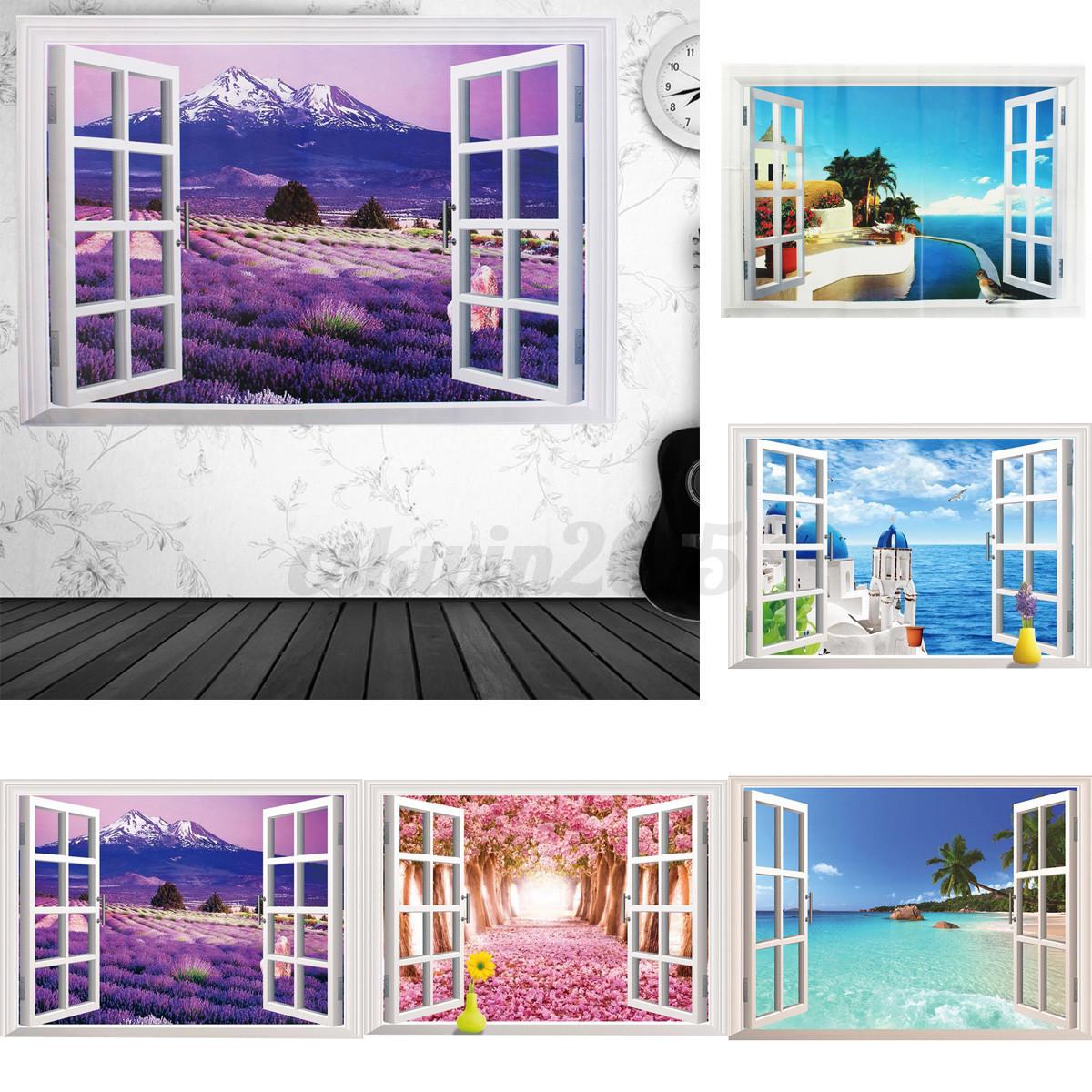 3d ocean beach window wall sticker decals room decor vinyl for Beach mural curtains