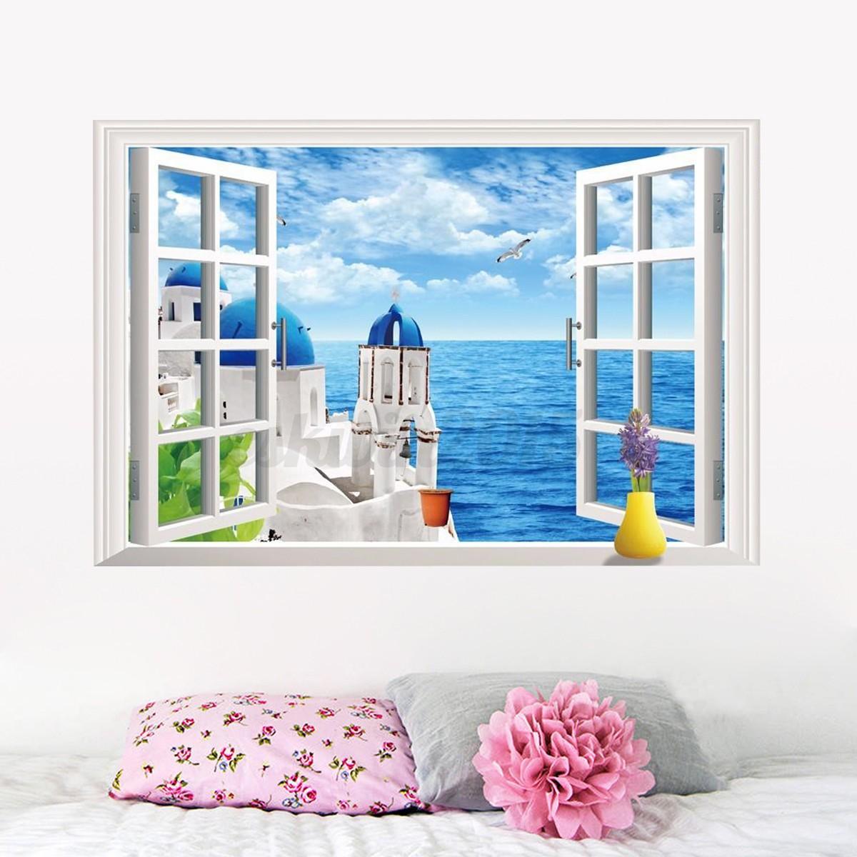 3d ocean beach window wall sticker decals room decor vinyl for Beach wall mural decals